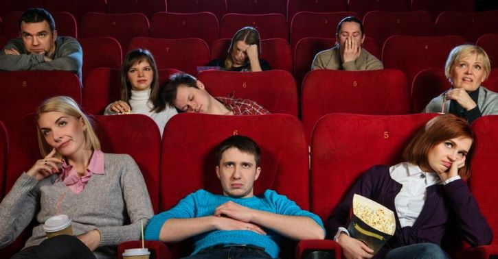 Audience being bored in a cinema